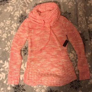 NWT pink cowl neck chunky knit turtleneck sweater